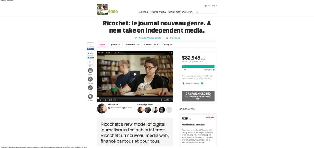 Ricochet  le journal nouveau genre. A new take on independent media.   Indiegogo